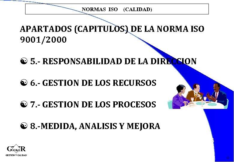 NORMAS ISO (CALIDAD) APARTADOS (CAPITULOS) DE LA NORMA ISO 9001/2000 [ 5. - RESPONSABILIDAD