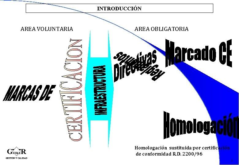 INTRODUCCIÓN AREA VOLUNTARIA AREA OBLIGATORIA 4 Homologación sustituida por certificación de conformidad R. D.