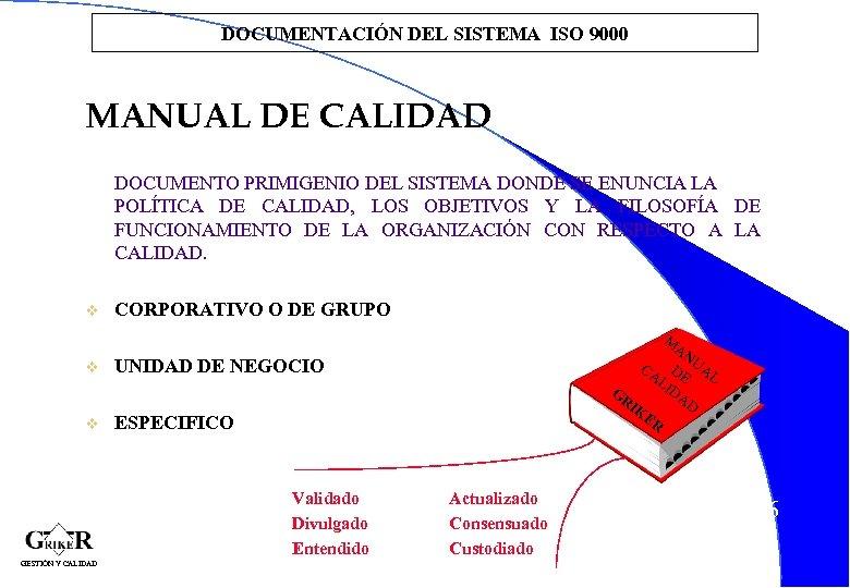 DOCUMENTACIÓN DEL SISTEMA ISO 9000 MANUAL DE CALIDAD DOCUMENTO PRIMIGENIO DEL SISTEMA DONDE SE
