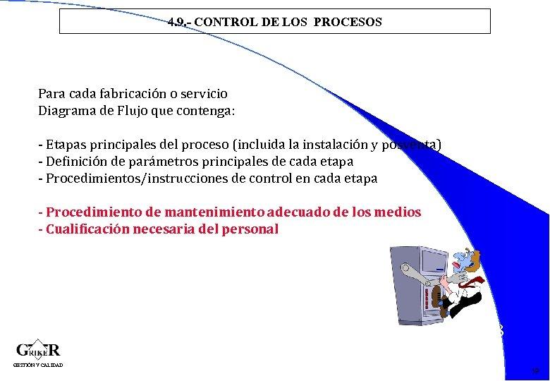 4. 9. - CONTROL DE LOS PROCESOS Para cada fabricación o servicio Diagrama de