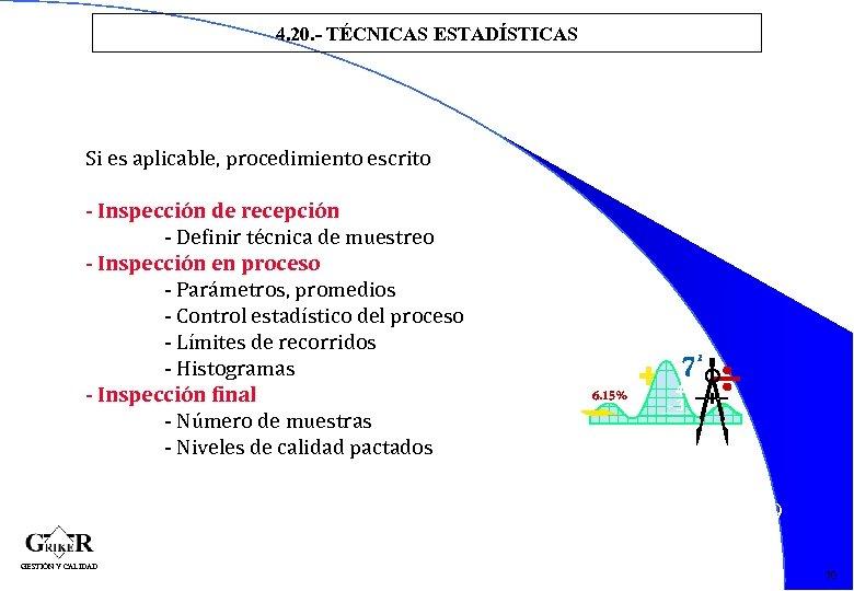 4. 20. - TÉCNICAS ESTADÍSTICAS Si es aplicable, procedimiento escrito - Inspección de recepción