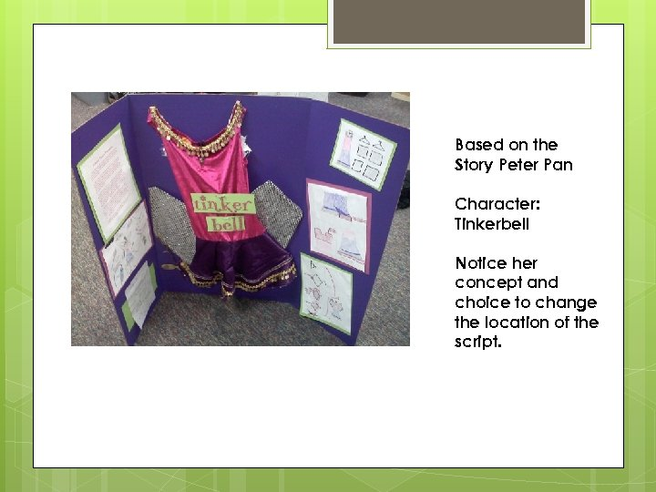 Based on the Story Peter Pan Character: Tinkerbell Notice her concept and choice to