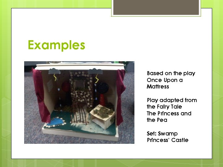 Examples Based on the play Once Upon a Mattress Play adapted from the Fairy