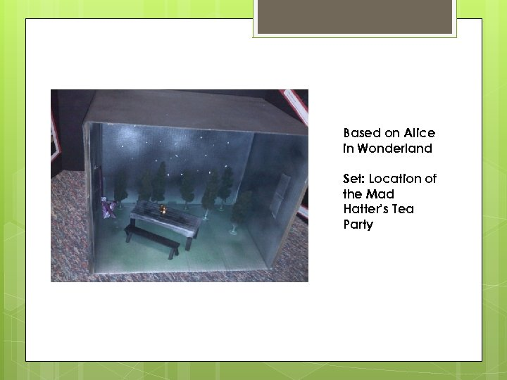 Based on Alice in Wonderland Set: Location of the Mad Hatter's Tea Party