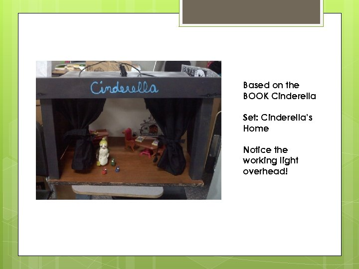 Based on the BOOK Cinderella Set: Cinderella's Home Notice the working light overhead!