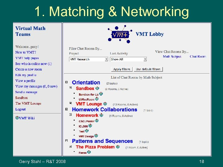 1. Matching & Networking Gerry Stahl -- R&T 2008 18