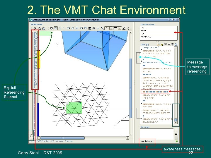 2. The VMT Chat Environment Message to message referencing Explicit Referencing Support Chat Scrollbar