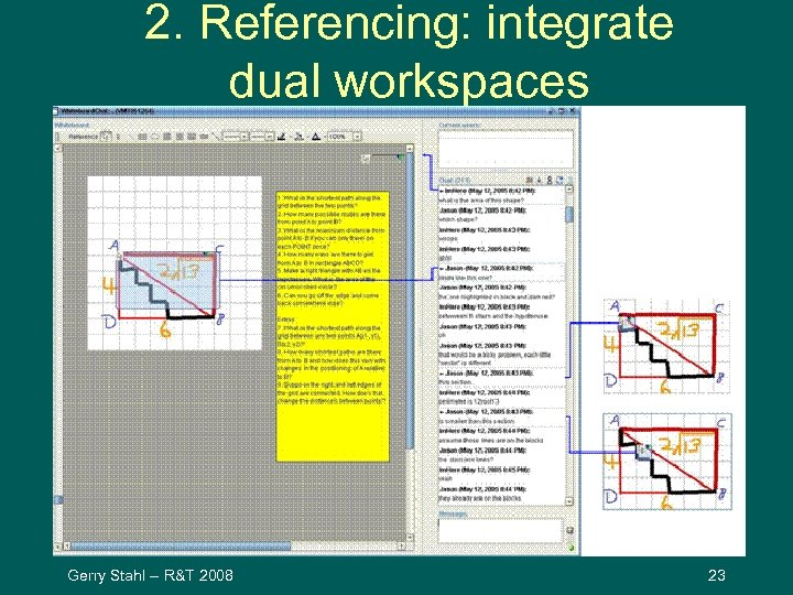 2. Referencing: integrate dual workspaces Gerry Stahl -- R&T 2008 23