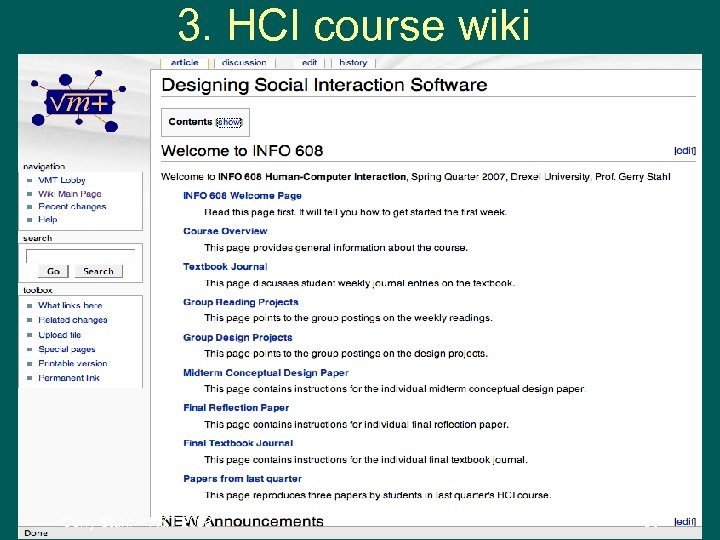 3. HCI course wiki Gerry Stahl -- R&T 2008 36