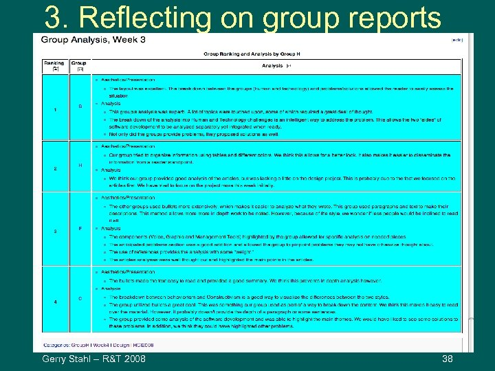 3. Reflecting on group reports Gerry Stahl -- R&T 2008 38