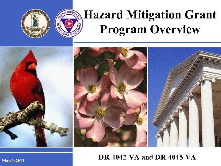 Hazard Mitigation Grant Program Overview March 2012 DR-4042 -VA and DR-4045 -VA FOR OFFICIAL