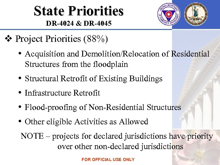 State Priorities DR-4024 & DR-4045 v Project Priorities (88%) • Acquisition and Demolition/Relocation of