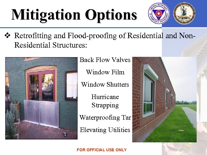 Mitigation Options v Retrofitting and Flood-proofing of Residential and Non. Residential Structures: Back Flow