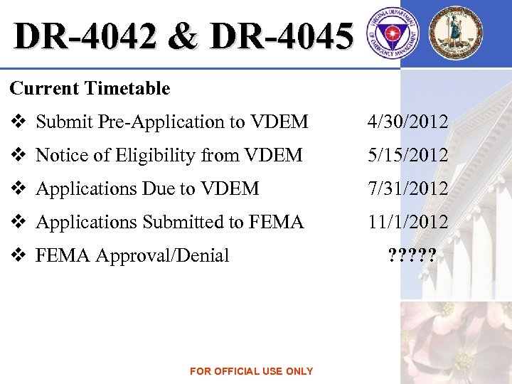 DR-4042 & DR-4045 Current Timetable v Submit Pre-Application to VDEM 4/30/2012 v Notice of
