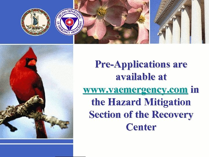 Pre-Applications are available at www. vaemergency. com in the Hazard Mitigation Section of the