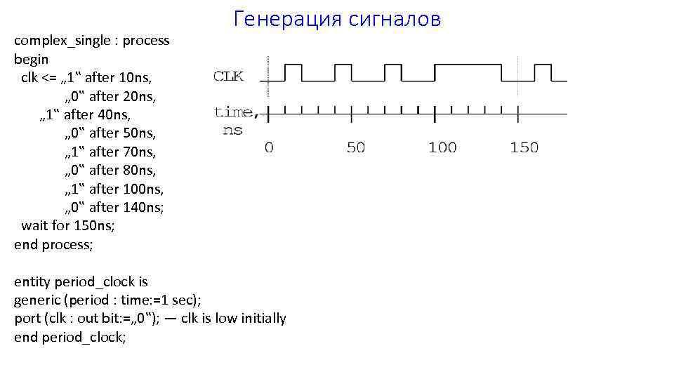 "complex_single : process begin clk <= "" 1"" after 10 ns, "" 0"" after"
