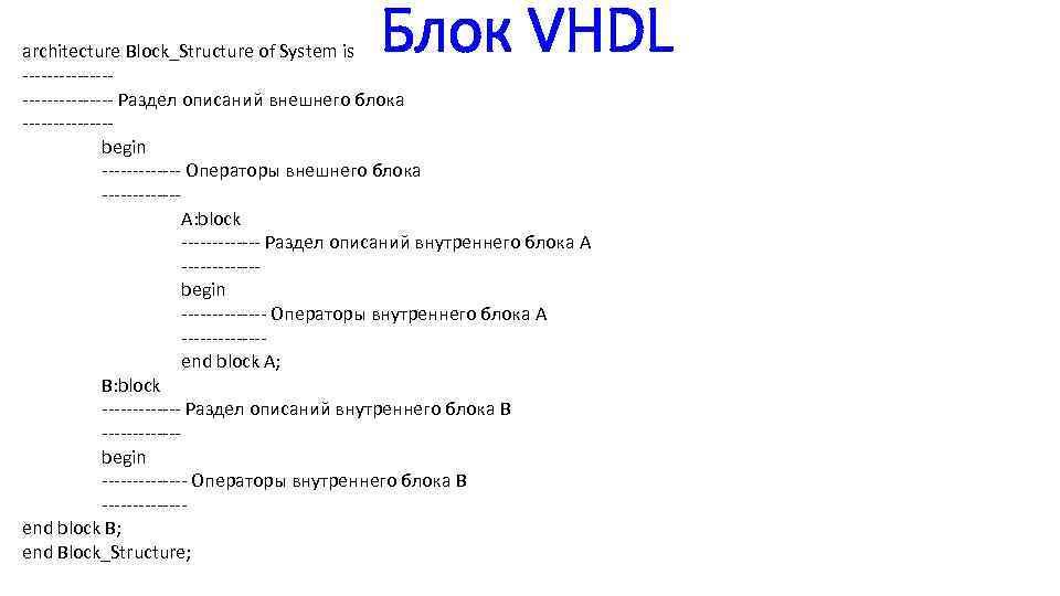 Блок VHDL architecture Block_Structure of System is --------------- Раздел описаний внешнего блока -------begin -------