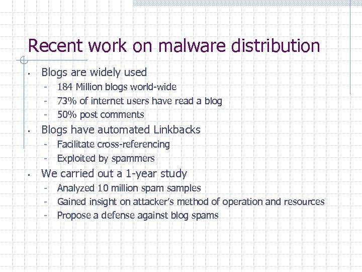 Recent work on malware distribution • Blogs are widely used - • Blogs have