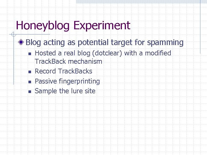 Honeyblog Experiment Blog acting as potential target for spamming n n Hosted a real