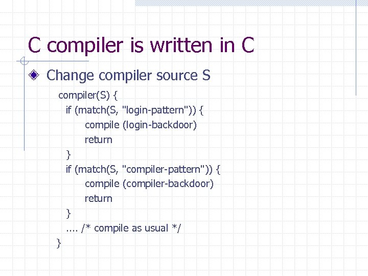 C compiler is written in C Change compiler source S compiler(S) { if (match(S,