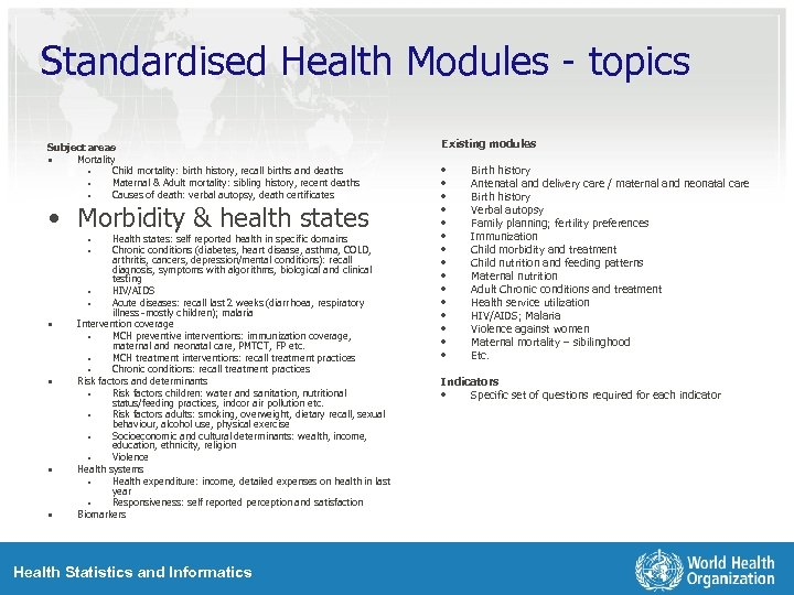 Standardised Health Modules - topics Subject areas • Mortality • Child mortality: birth history,