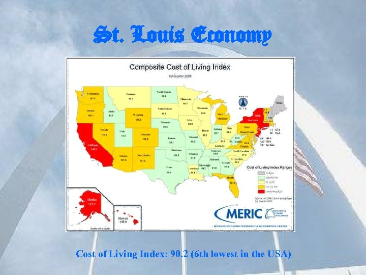 St. Louis Economy Cost of Living Index: 90. 2 (6 th lowest in the