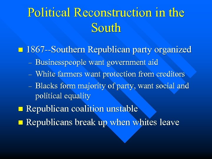 Political Reconstruction in the South n 1867 --Southern Republican party organized – – –