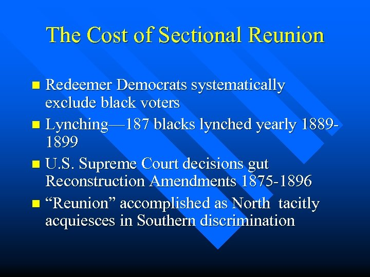 The Cost of Sectional Reunion Redeemer Democrats systematically exclude black voters n Lynching— 187