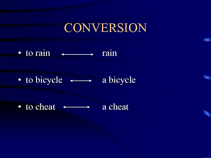 CONVERSION • to rain • to bicycle a bicycle • to cheat a cheat