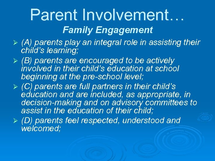 Parent Involvement… Family Engagement (A) parents play an integral role in assisting their child's