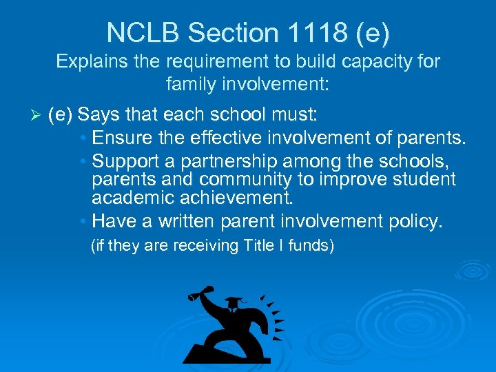NCLB Section 1118 (e) Explains the requirement to build capacity for family involvement: Ø