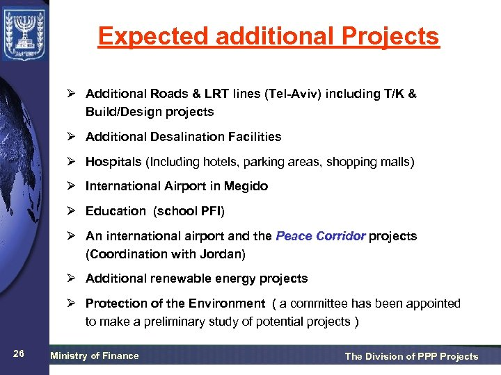 Expected additional Projects Ø Additional Roads & LRT lines (Tel-Aviv) including T/K & Build/Design