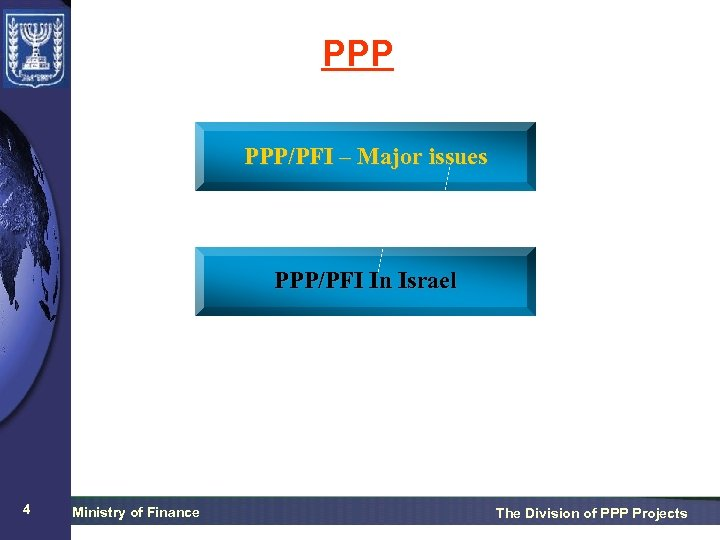 PPP PPP/PFI – Major issues PPP/PFI In Israel 4 Ministry of Finance The Division