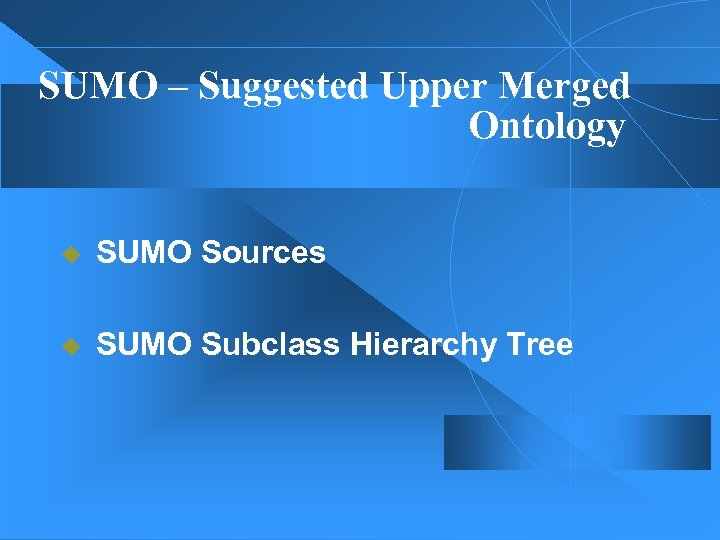 SUMO – Suggested Upper Merged Ontology u SUMO Sources u SUMO Subclass Hierarchy Tree