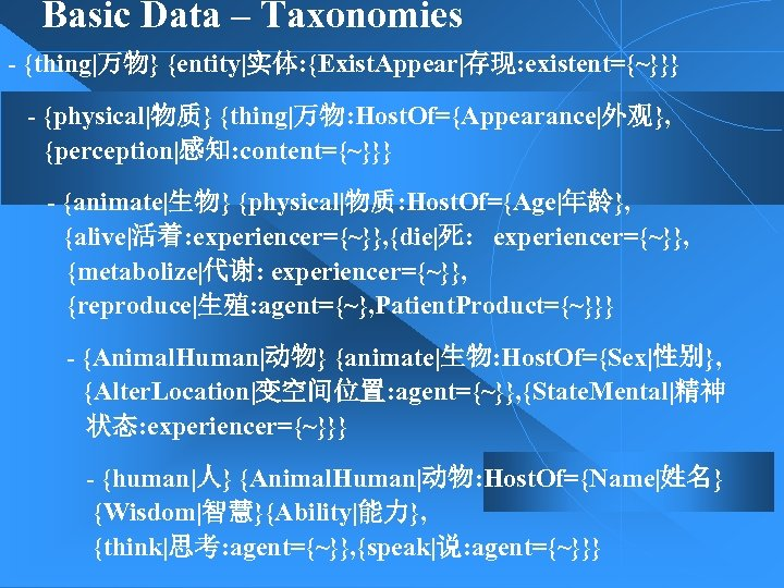Basic Data – Taxonomies - {thing|万物} {entity|实体: {Exist. Appear|存现: existent={~}}} - {physical|物质} {thing|万物: Host.