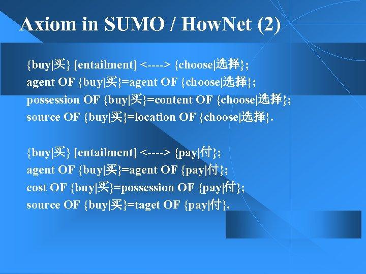 Axiom in SUMO / How. Net (2) {buy|买} [entailment] <----> {choose|选择}; agent OF {buy|买}=agent
