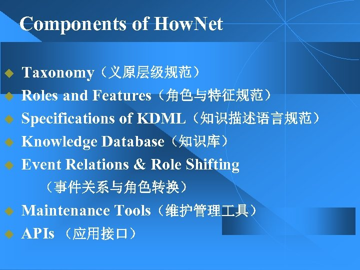 Components of How. Net Taxonomy(义原层级规范) u Roles and Features(角色与特征规范) u Specifications of KDML(知识描述语言规范) u