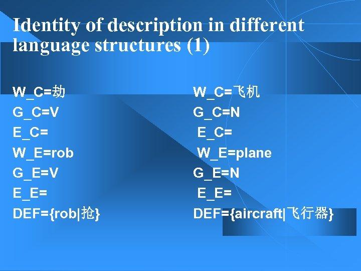 Identity of description in different language structures (1) W_C=劫 G_C=V E_C= W_E=rob G_E=V E_E=
