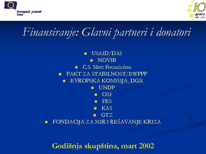 Finansiranje: Glavni partneri i donatori USAID/DAI n NOVIB n C. S. Mott Foundation n