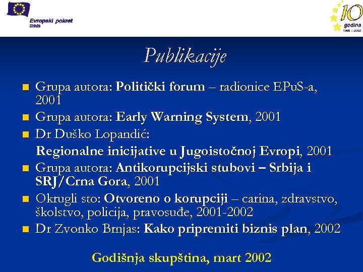 Publikacije n n n Grupa autora: Politički forum – radionice EPu. S-a, 2001 Grupa