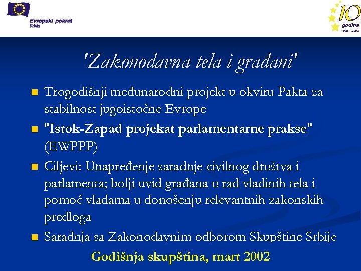 'Zakonodavna tela i građani' n n Trogodišnji međunarodni projekt u okviru Pakta za stabilnost