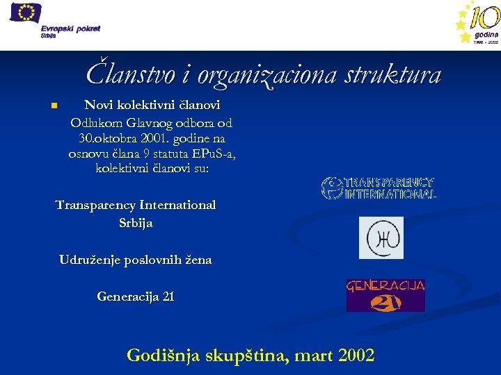 Članstvo i organizaciona struktura n Novi kolektivni članovi Odlukom Glavnog odbora od 30. oktobra
