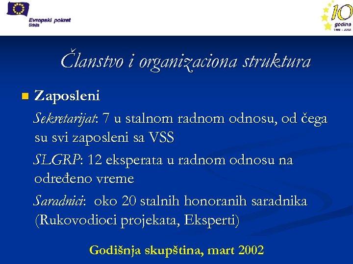 Članstvo i organizaciona struktura n Zaposleni Sekretarijat: 7 u stalnom radnom odnosu, od čega