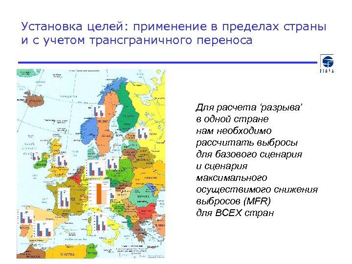 Установка целей: применение в пределах страны и с учетом трансграничного переноса Для расчета 'разрыва'