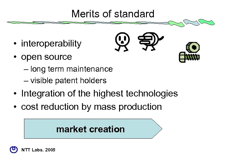 Merits of standard • interoperability • open source – long term maintenance – visible