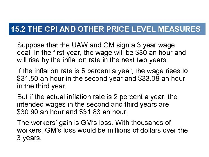 15. 2 THE CPI AND OTHER PRICE LEVEL MEASURES Suppose that the UAW and
