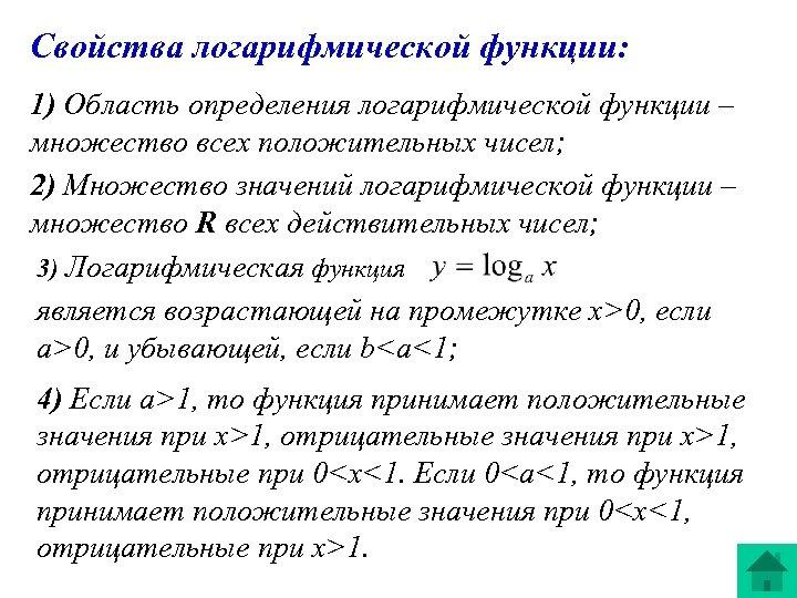 Свойства логарифмической функции: 1) Область определения логарифмической функции – множество всех положительных чисел; 2)