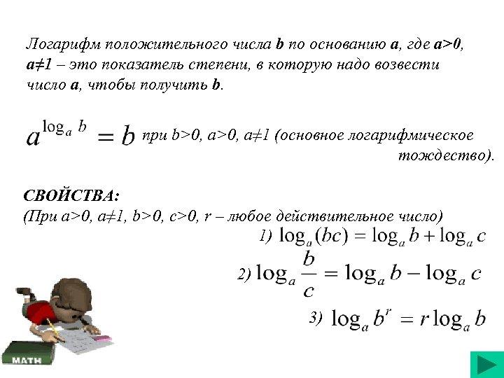 Логарифм положительного числа b по основанию a, где a>0, a≠ 1 – это показатель
