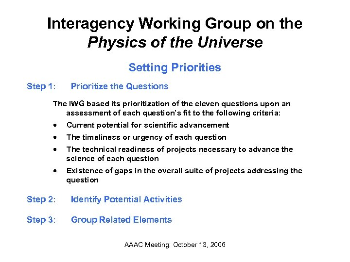 Interagency Working Group on the Physics of the Universe Setting Priorities Step 1: Prioritize
