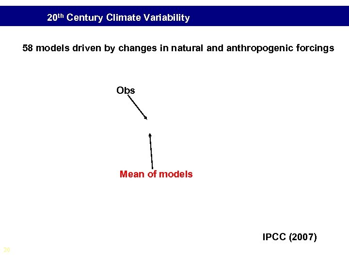 20 th Century Climate Variability 58 models driven by changes in natural and anthropogenic